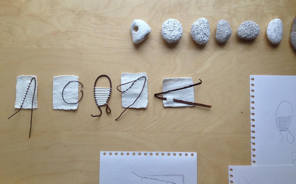 Alice Fox Findings weave and stone work in progress