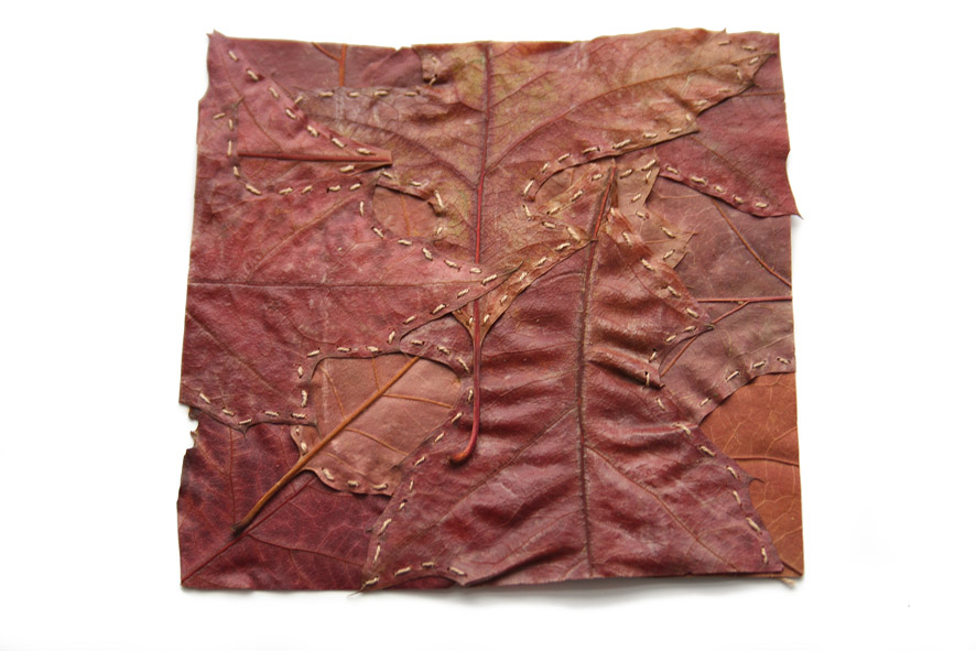Alice Fox Leaf Stitching red oak square