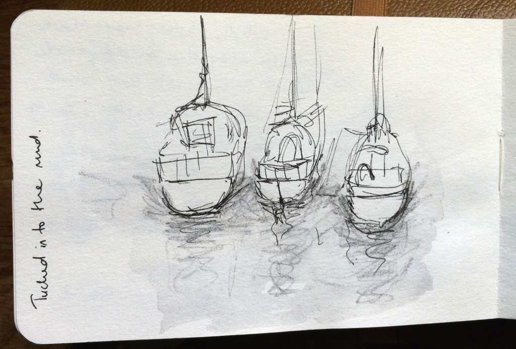 Alice Fox boats in mud sketch