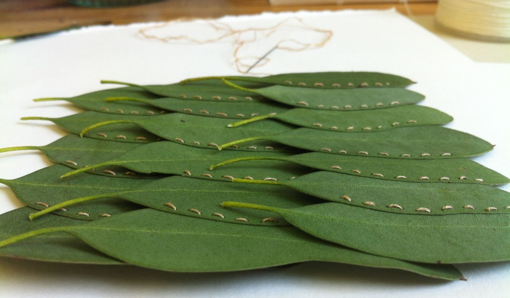 Alice Fox leaf stitching in progress
