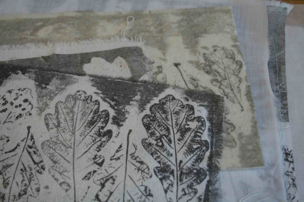 Alice Fox oak leaf collagraph prints