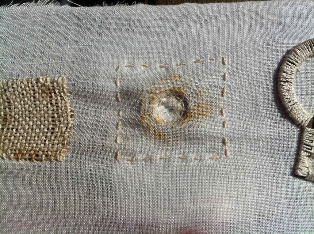 Alice Fox stitch with found rusty metal